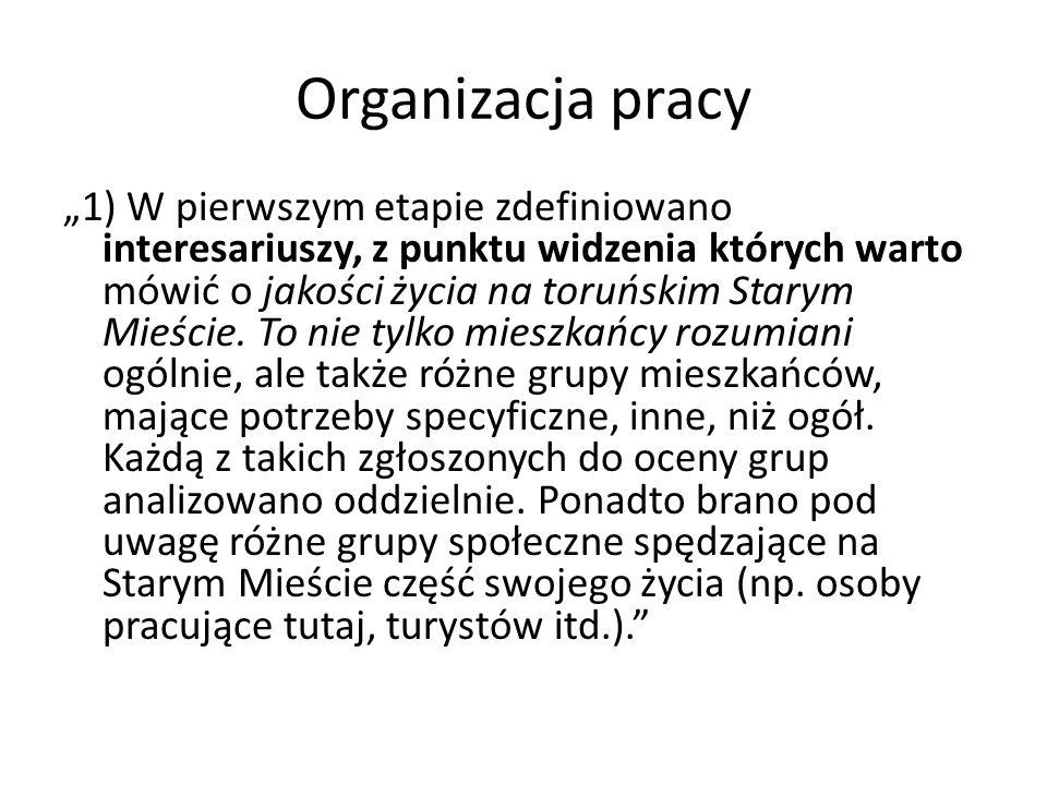 Organizacja pracy 1) W pierwszym etapie zdefiniowano interesariuszy, z punktu widzenia których warto mówić o jakości życia na toruńskim Starym Mieście.