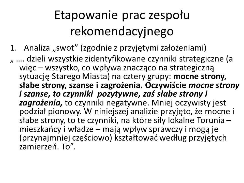 Etapowanie prac zespołu rekomendacyjnego 1.Analiza swot (zgodnie z przyjętymi założeniami) ….