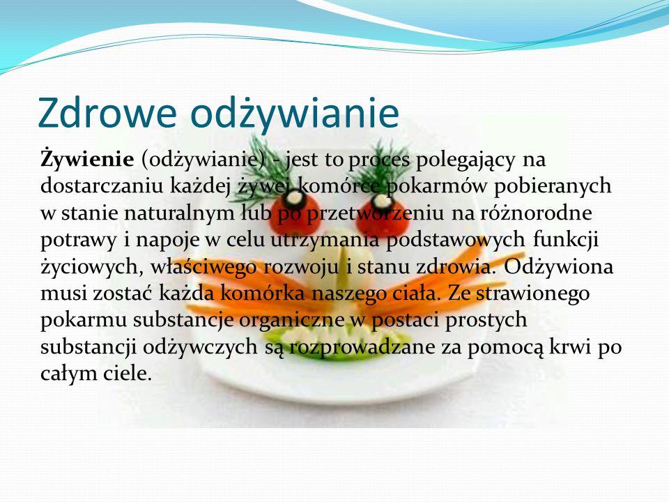 Zdrowe odżywianie Żywienie (odżywianie) - jest to proces polegający na dostarczaniu każdej żywej komórce pokarmów pobieranych w stanie naturalnym lub
