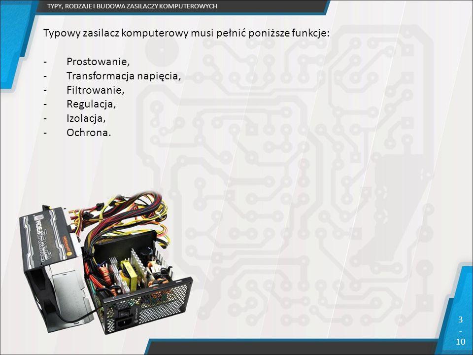 TYPY, RODZAJE I BUDOWA ZASILACZY KOMPUTEROWYCH 3 - 10 Typowy zasilacz komputerowy musi pełnić poniższe funkcje: -Prostowanie, -Transformacja napięcia,