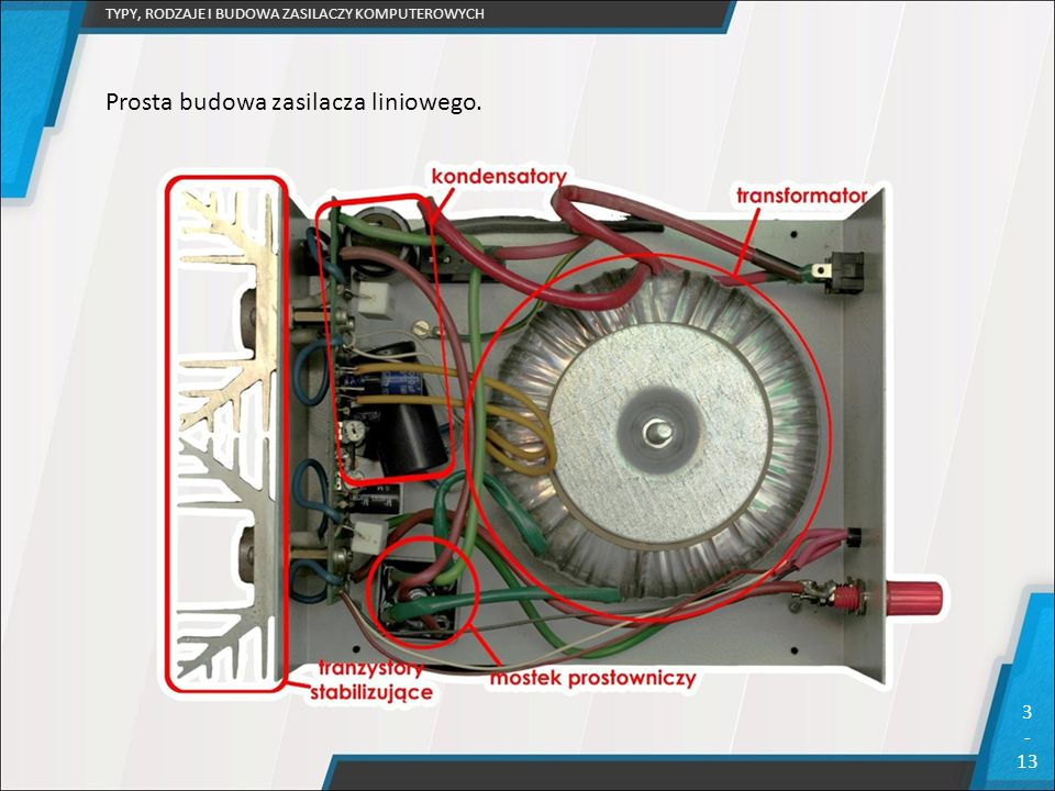 TYPY, RODZAJE I BUDOWA ZASILACZY KOMPUTEROWYCH 3 - 13 Prosta budowa zasilacza liniowego.