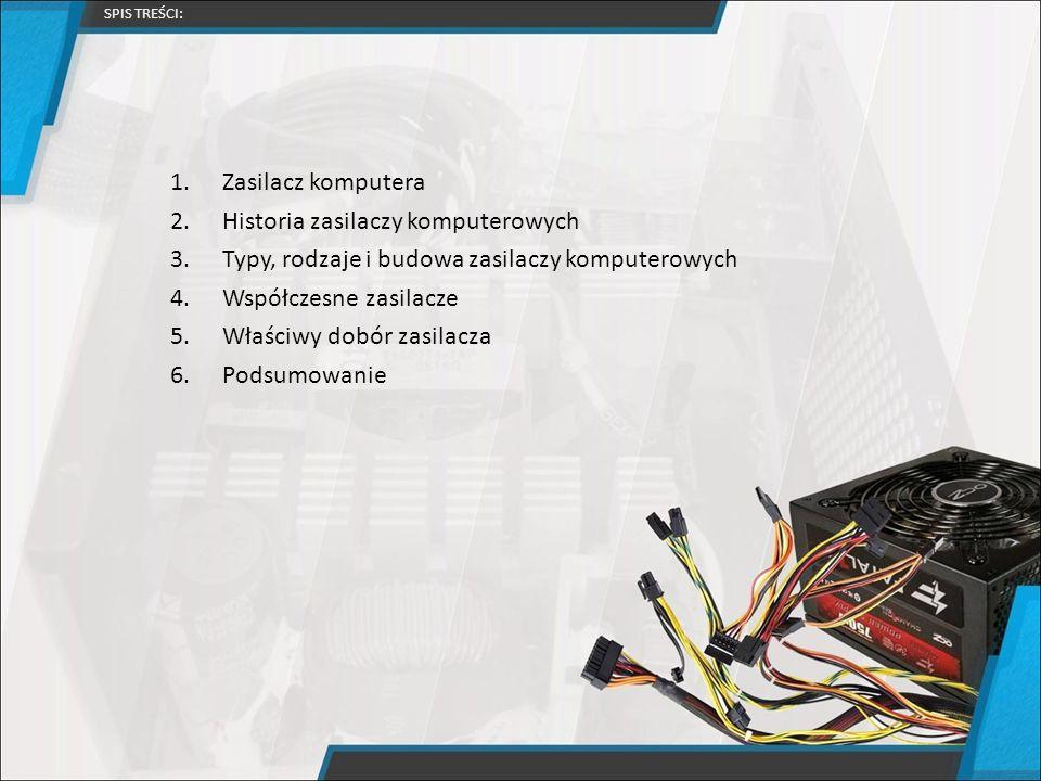 1.Zasilacz komputera 2.Historia zasilaczy komputerowych 3.Typy, rodzaje i budowa zasilaczy komputerowych 4.Współczesne zasilacze 5.Właściwy dobór zasi