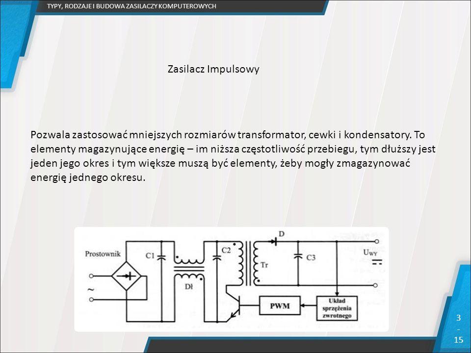 TYPY, RODZAJE I BUDOWA ZASILACZY KOMPUTEROWYCH 3 - 15 Pozwala zastosować mniejszych rozmiarów transformator, cewki i kondensatory. To elementy magazyn