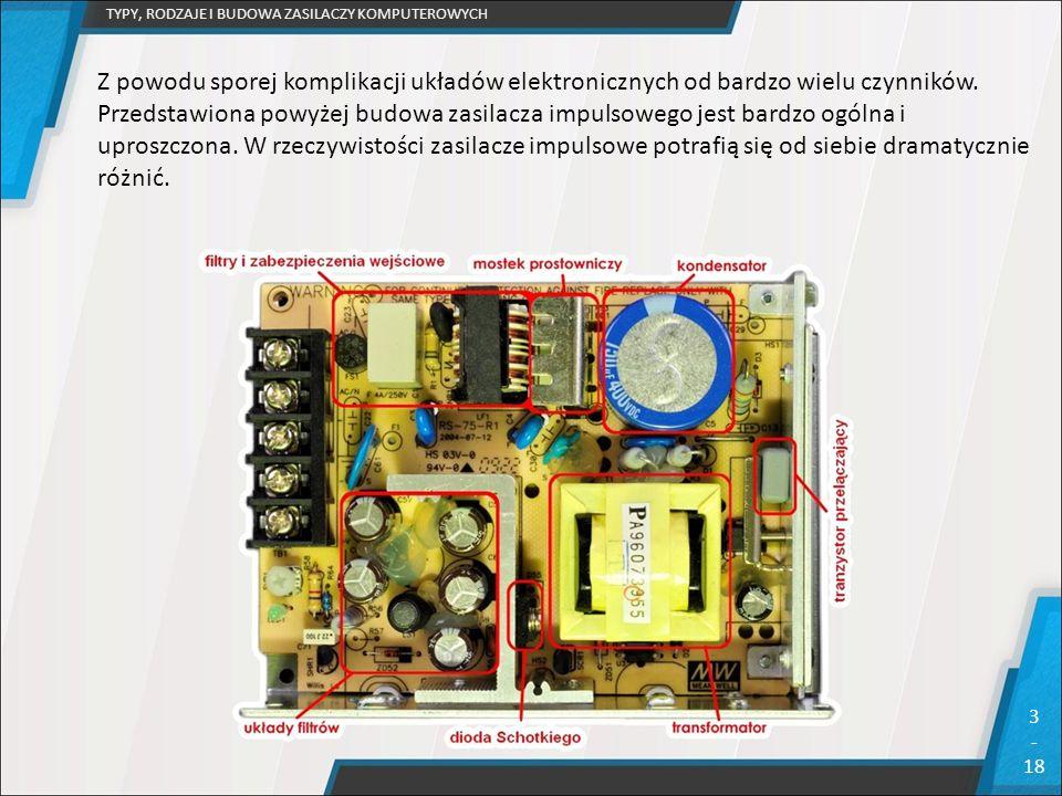 TYPY, RODZAJE I BUDOWA ZASILACZY KOMPUTEROWYCH 3 - 18 Z powodu sporej komplikacji układów elektronicznych od bardzo wielu czynników. Przedstawiona pow