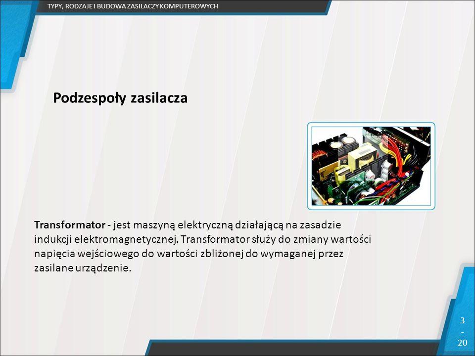 TYPY, RODZAJE I BUDOWA ZASILACZY KOMPUTEROWYCH 3 - 20 Podzespoły zasilacza Transformator - jest maszyną elektryczną działającą na zasadzie indukcji el