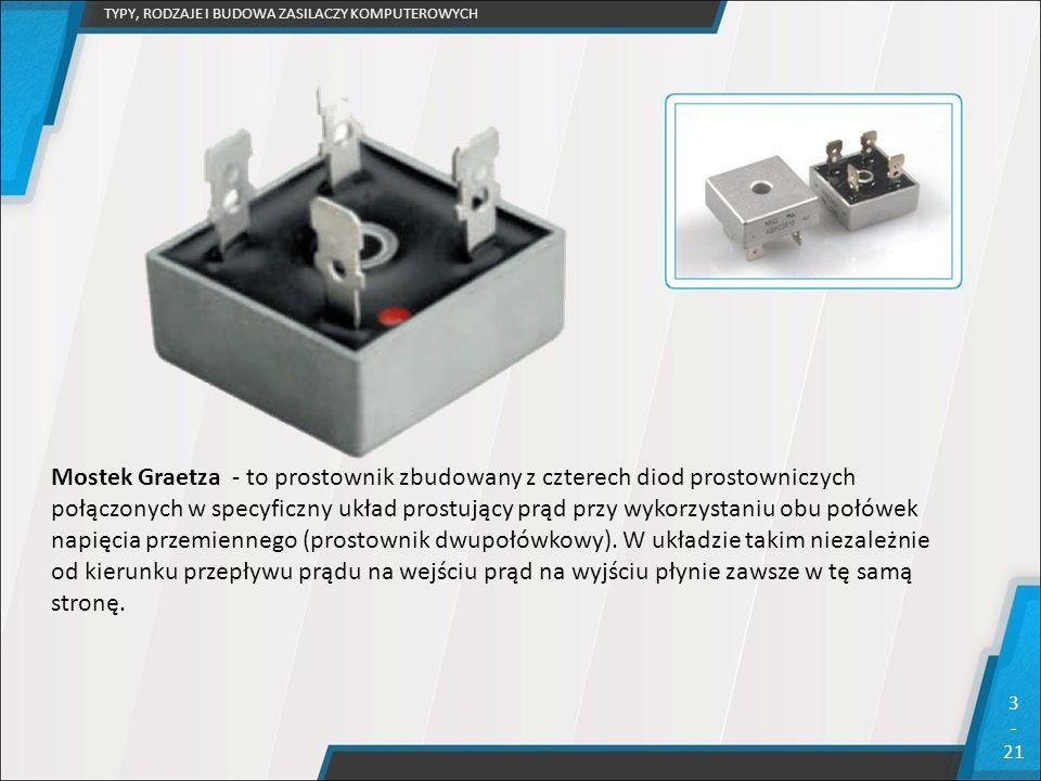 TYPY, RODZAJE I BUDOWA ZASILACZY KOMPUTEROWYCH 3 - 21 Mostek Graetza - to prostownik zbudowany z czterech diod prostowniczych połączonych w specyficzn