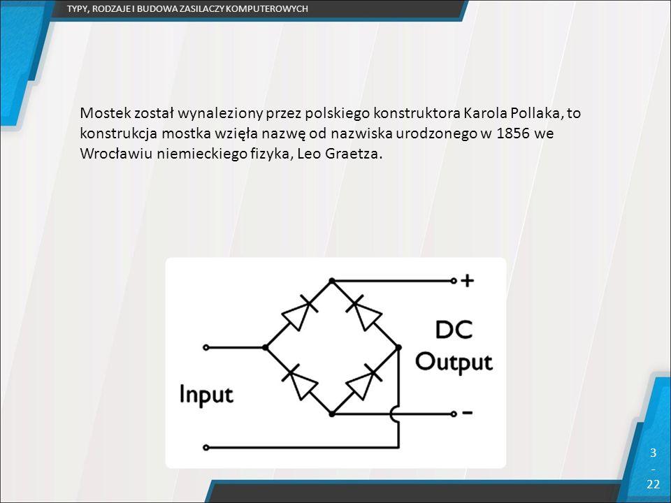 TYPY, RODZAJE I BUDOWA ZASILACZY KOMPUTEROWYCH 3 - 22 Mostek został wynaleziony przez polskiego konstruktora Karola Pollaka, to konstrukcja mostka wzi