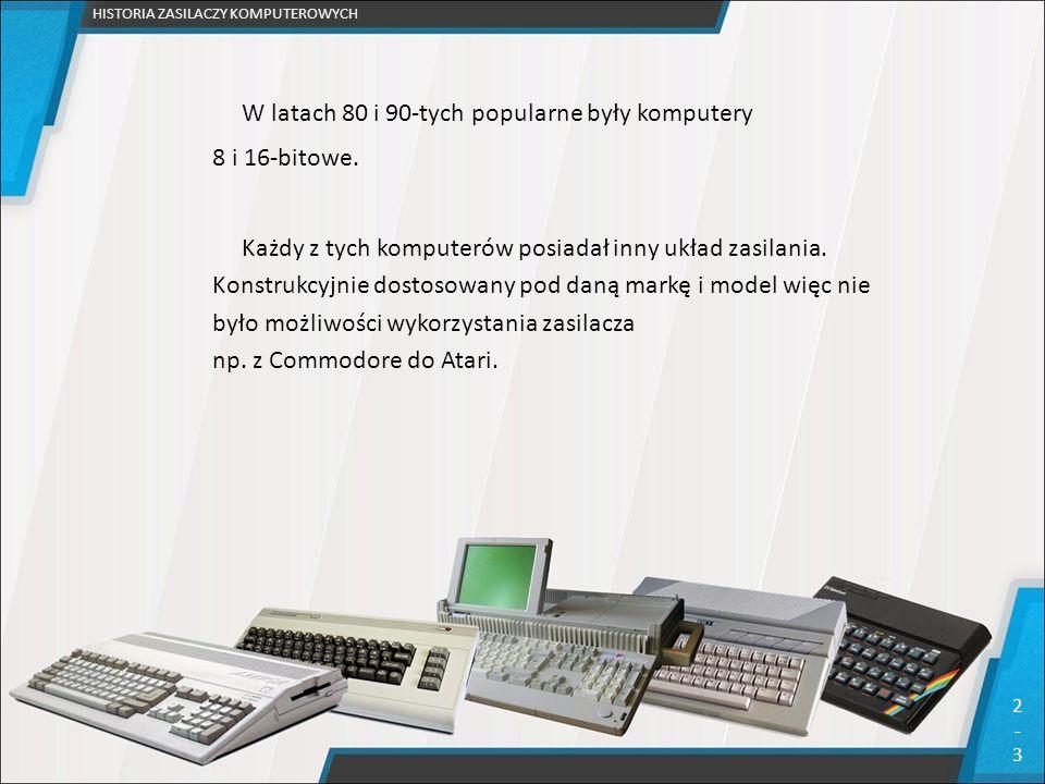 W latach 80 i 90-tych popularne były komputery 8 i 16-bitowe. Każdy z tych komputerów posiadał inny układ zasilania. Konstrukcyjnie dostosowany pod da