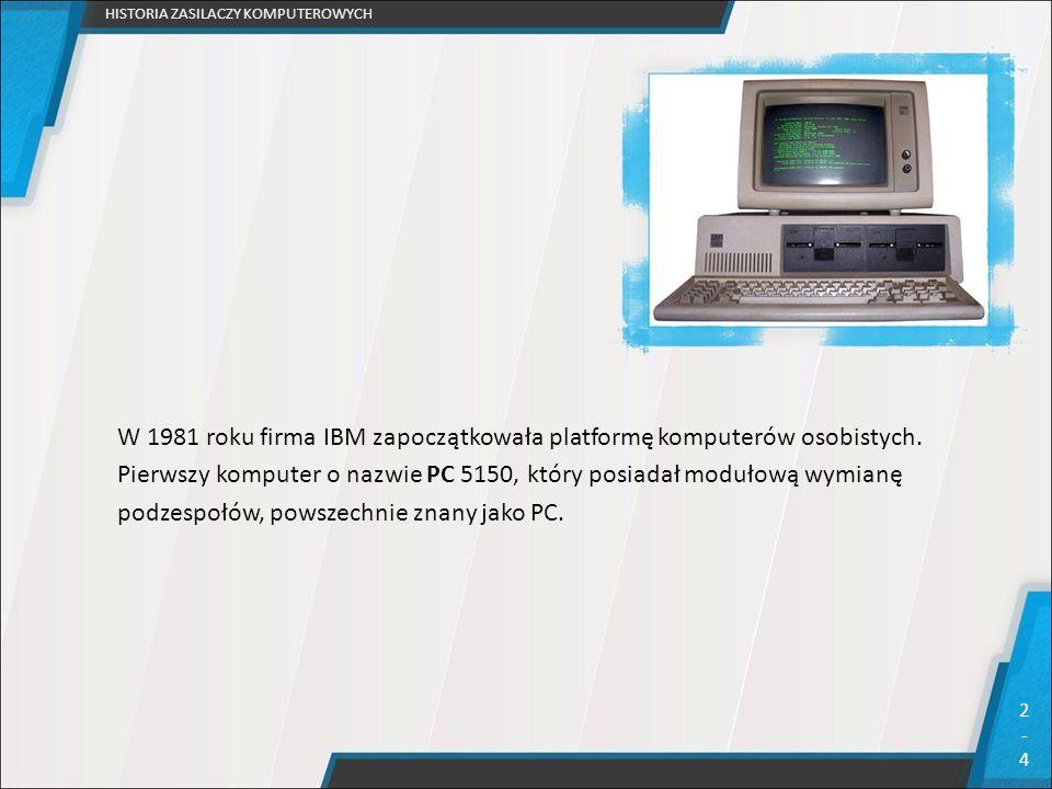W 1981 roku firma IBM zapoczątkowała platformę komputerów osobistych. Pierwszy komputer o nazwie PC 5150, który posiadał modułową wymianę podzespołów,