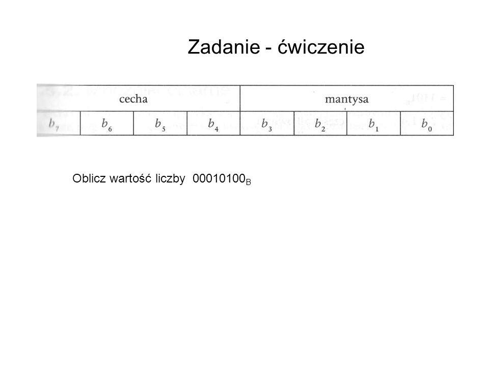 Zadanie - ćwiczenie Oblicz wartość liczby 00010100 B e = 0*(-2 3 ) + 0*2 2 + 0*2 1 + 1*2 0 = 0 + 0 +0+ 1 = 1 M 01,00 m = 0*(-2 1 ) + 1*2 0 + 0*2 -1 +0