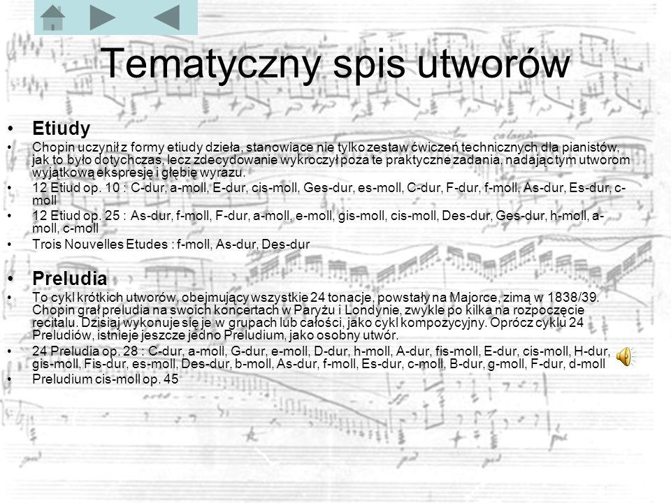 Tematyczny spis utworów Etiudy Chopin uczynił z formy etiudy dzieła, stanowiące nie tylko zestaw ćwiczeń technicznych dla pianistów, jak to było dotychczas, lecz zdecydowanie wykroczył poza te praktyczne zadania, nadając tym utworom wyjątkową ekspresję i głębię wyrazu.