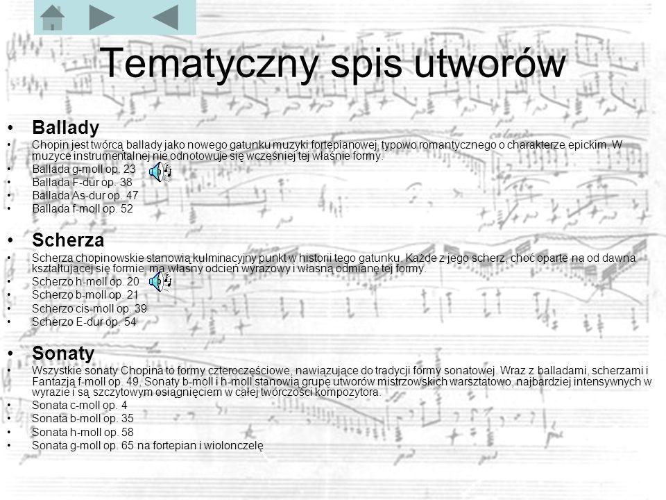 Tematyczny spis utworów Ballady Chopin jest twórcą ballady jako nowego gatunku muzyki fortepianowej, typowo romantycznego o charakterze epickim.