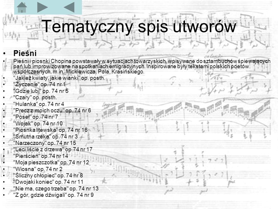 Tematyczny spis utworów Pieśni Pieśni i piosnki Chopina powstawały w sytuacjach towarzyskich, wpisywane do sztambuchów śpiewających pań lub improwizowane na spotkaniach emigracyjnych.