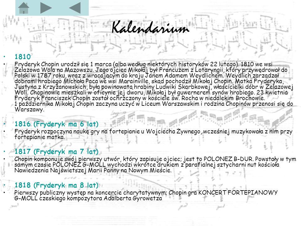 Kalendarium 1810 Fryderyk Chopin urodził się 1 marca (albo według niektórych historyków 22 lutego).