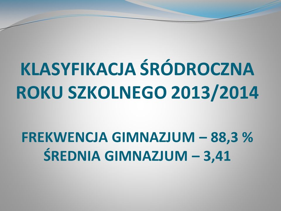 Liczba ocen wystawionych w gimnazjum Oceny celujące - 92 Oceny bardzo dobre - 363 Oceny dobre - 442 Oceny dostateczne - 488 Oceny dopuszczające - 498 Oceny niedostateczne - 59