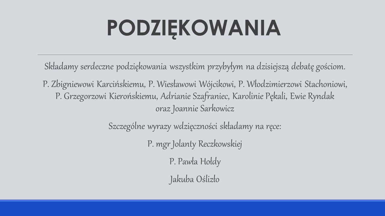 PODZIĘKOWANIA Składamy serdeczne podziękowania wszystkim przybyłym na dzisiejszą debatę gościom. P. Zbigniewowi Karcińskiemu, P. Wiesławowi Wójcikowi,