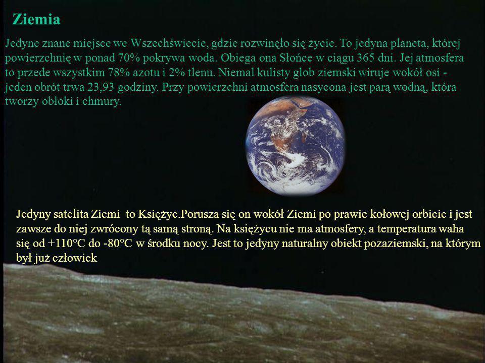 Wenus Jest najgorętszą planetą w Układzie Słonecznym. Temperatura na jej powierzchni waha się w granicach 130 - 470°C. Grube chmury pokrywające Wenus