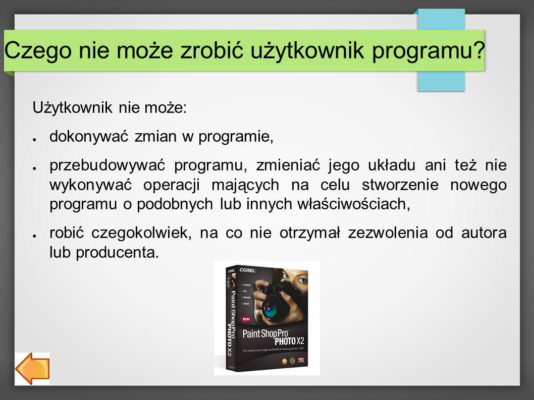 Czego nie może zrobić użytkownik programu.