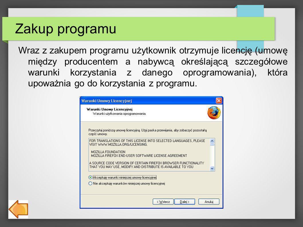 Zakup programu Wraz z zakupem programu użytkownik otrzymuje licencję (umowę między producentem a nabywcą określającą szczegółowe warunki korzystania z danego oprogramowania), która upoważnia go do korzystania z programu.