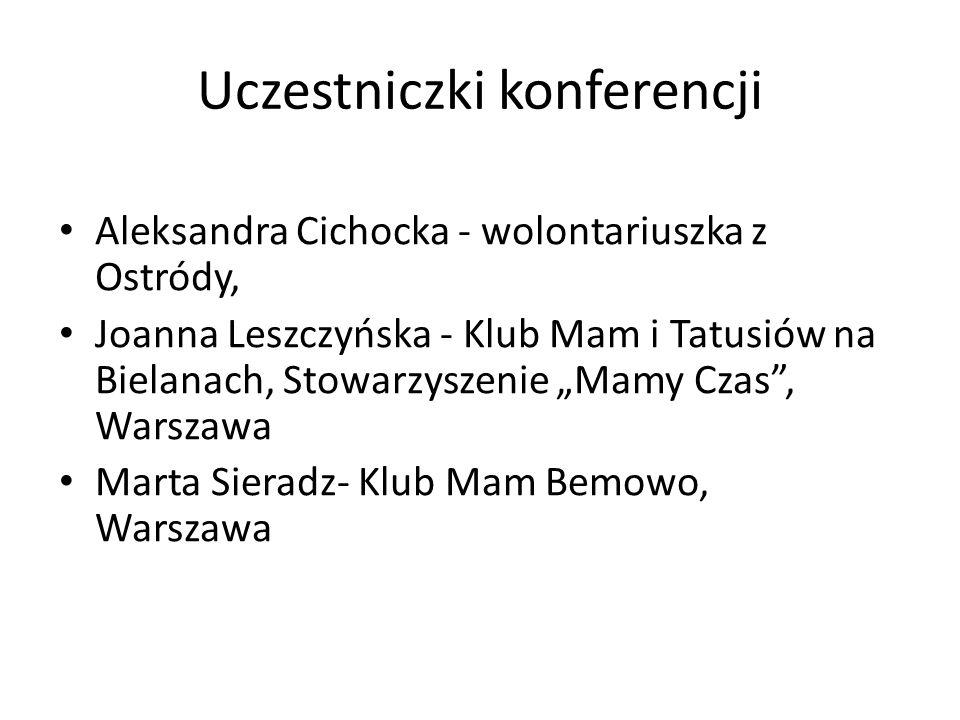 Uczestniczki konferencji Aleksandra Cichocka - wolontariuszka z Ostródy, Joanna Leszczyńska - Klub Mam i Tatusiów na Bielanach, Stowarzyszenie Mamy Cz