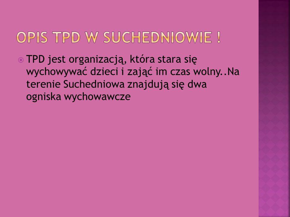 TPD jest organizacją, która stara się wychowywać dzieci i zająć im czas wolny..Na terenie Suchedniowa znajdują się dwa ogniska wychowawcze