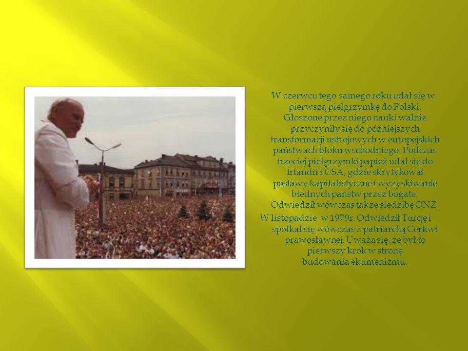 W czerwcu tego samego roku udał się w pierwszą pielgrzymkę do Polski. Głoszone przez niego nauki walnie przyczyniły się do późniejszych transformacji