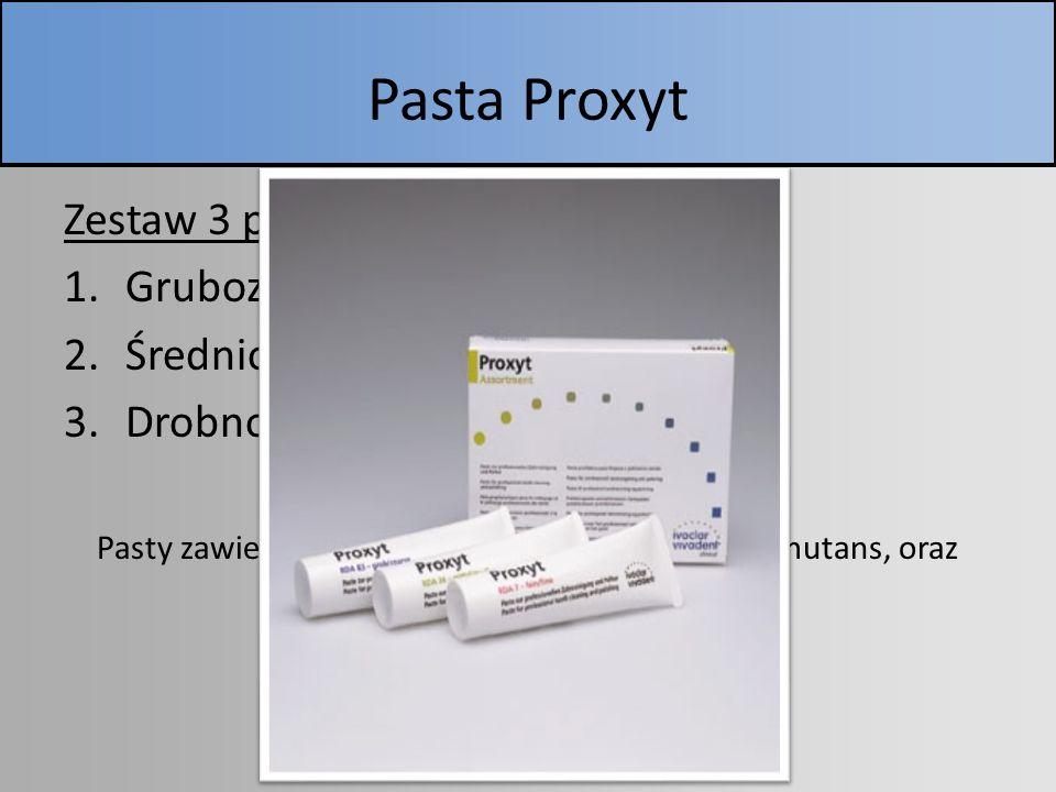 Pasta Proxyt Zestaw 3 past: 1.Gruboziarnista (niebieska) RDA 83 2.Średnioziarnista (zielona) RDA 36 3.Drobnoziarnista (czerwona) RDA 7 Pasty zawierają
