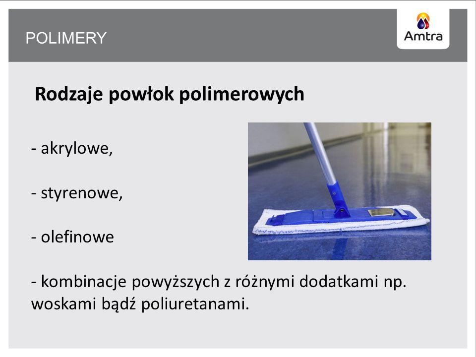 POLIMERY Rodzaje powłok polimerowych - akrylowe, - styrenowe, - olefinowe - kombinacje powyższych z różnymi dodatkami np.