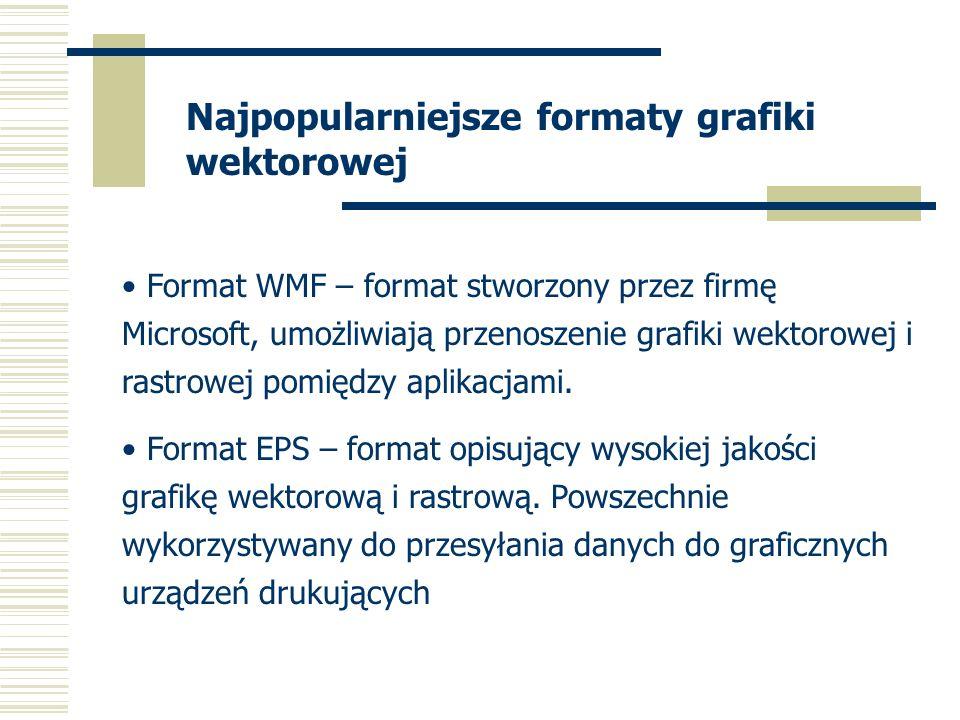 Najpopularniejsze formaty grafiki wektorowej Format WMF – format stworzony przez firmę Microsoft, umożliwiają przenoszenie grafiki wektorowej i rastrowej pomiędzy aplikacjami.