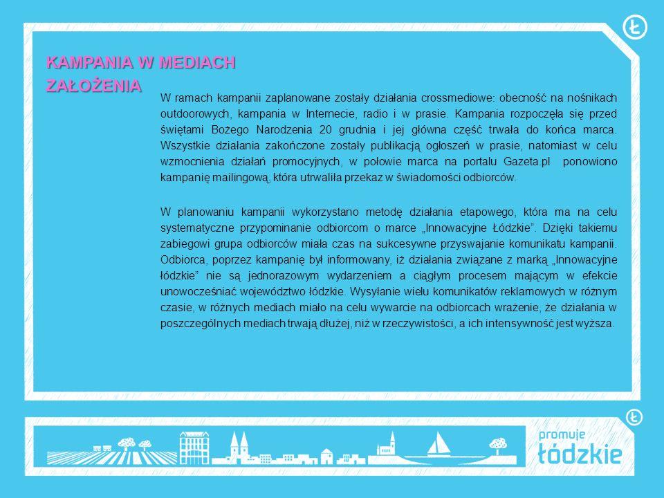 INTERNET-założenia Kampania internetowa wykorzystywała potencjał trzech największych portali informacyjnych: Onet.pl, Wp.pl i Gazeta.pl, które są liderami na polskim rynku w rankingu popularności wśród internautów.