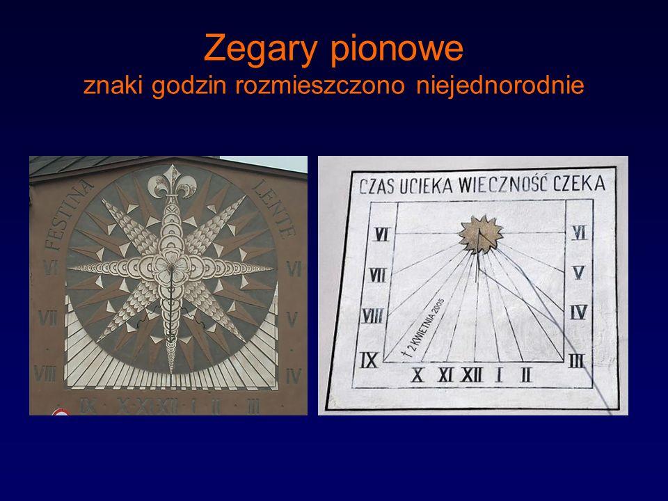 Zegary pionowe znaki godzin rozmieszczono niejednorodnie