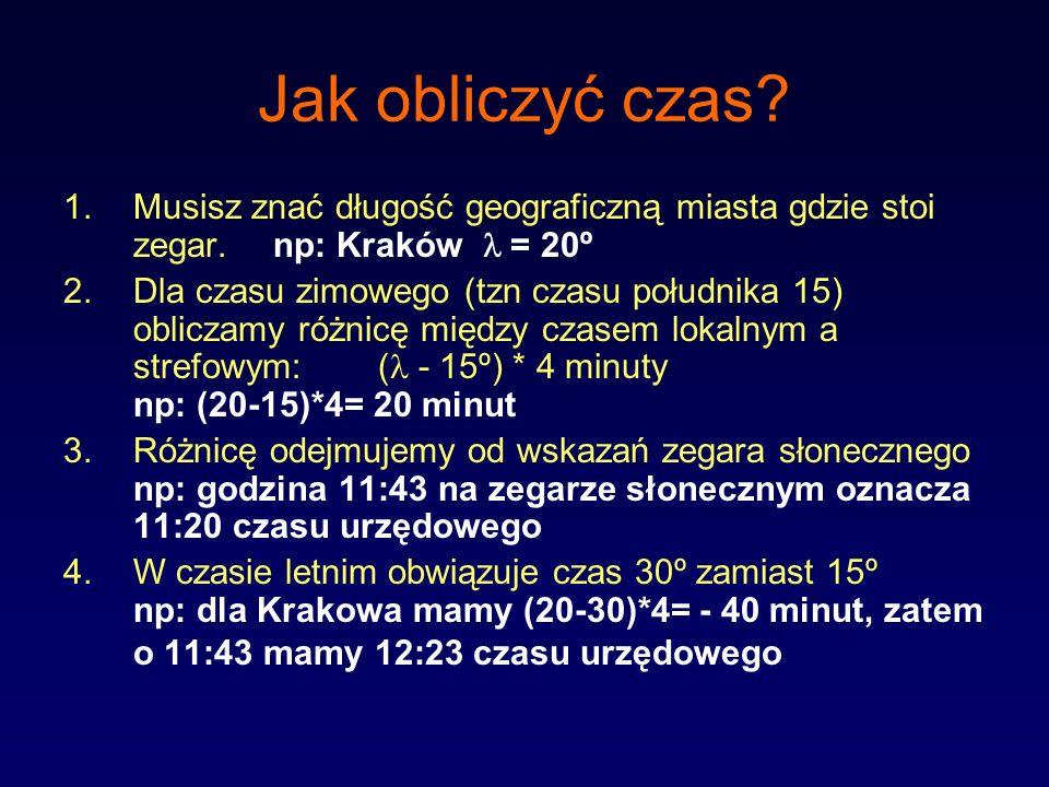 Jak obliczyć czas? 1.Musisz znać długość geograficzną miasta gdzie stoi zegar.np: Kraków = 20º 2.Dla czasu zimowego (tzn czasu południka 15) obliczamy