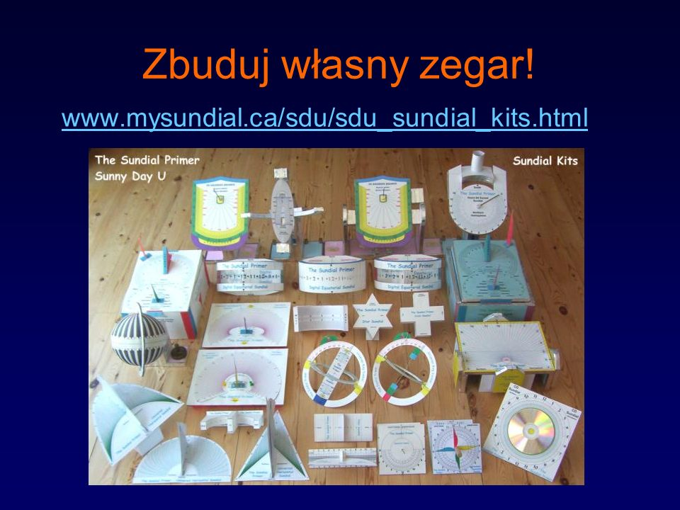 Zbuduj własny zegar! www.mysundial.ca/sdu/sdu_sundial_kits.html