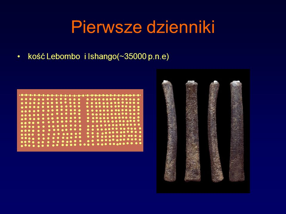 Pierwsze dzienniki kość Lebombo i Ishango(~35000 p.n.e)