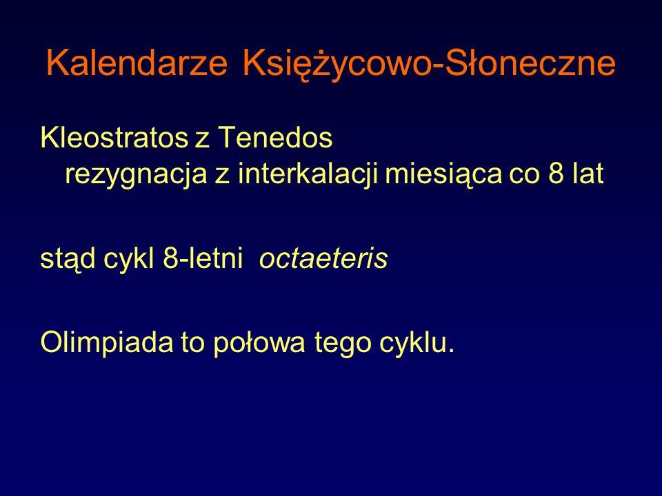 Kalendarze Księżycowo-Słoneczne Kleostratos z Tenedos rezygnacja z interkalacji miesiąca co 8 lat stąd cykl 8-letni octaeteris Olimpiada to połowa teg