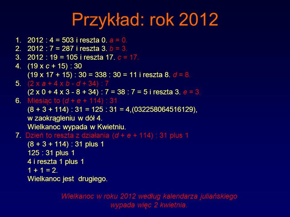 Przykład: rok 2012 1.2012 : 4 = 503 i reszta 0. a = 0. 2.2012 : 7 = 287 i reszta 3. b = 3. 3.2012 : 19 = 105 i reszta 17. c = 17. 4.(19 x c + 15) : 30