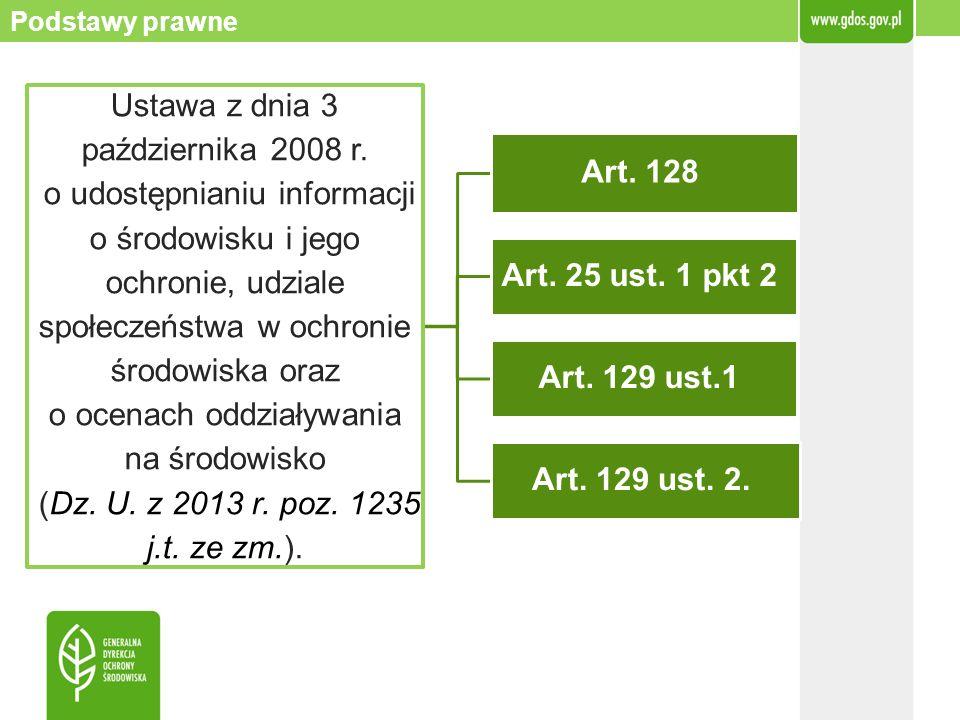 Podstawy prawne Ustawa z dnia 3 października 2008 r. o udostępnianiu informacji o środowisku i jego ochronie, udziale społeczeństwa w ochronie środowi