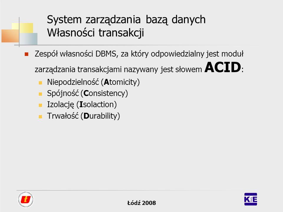 Łódź 2008 System zarządzania bazą danych Własności transakcji Zespół własności DBMS, za który odpowiedzialny jest moduł zarządzania transakcjami nazyw