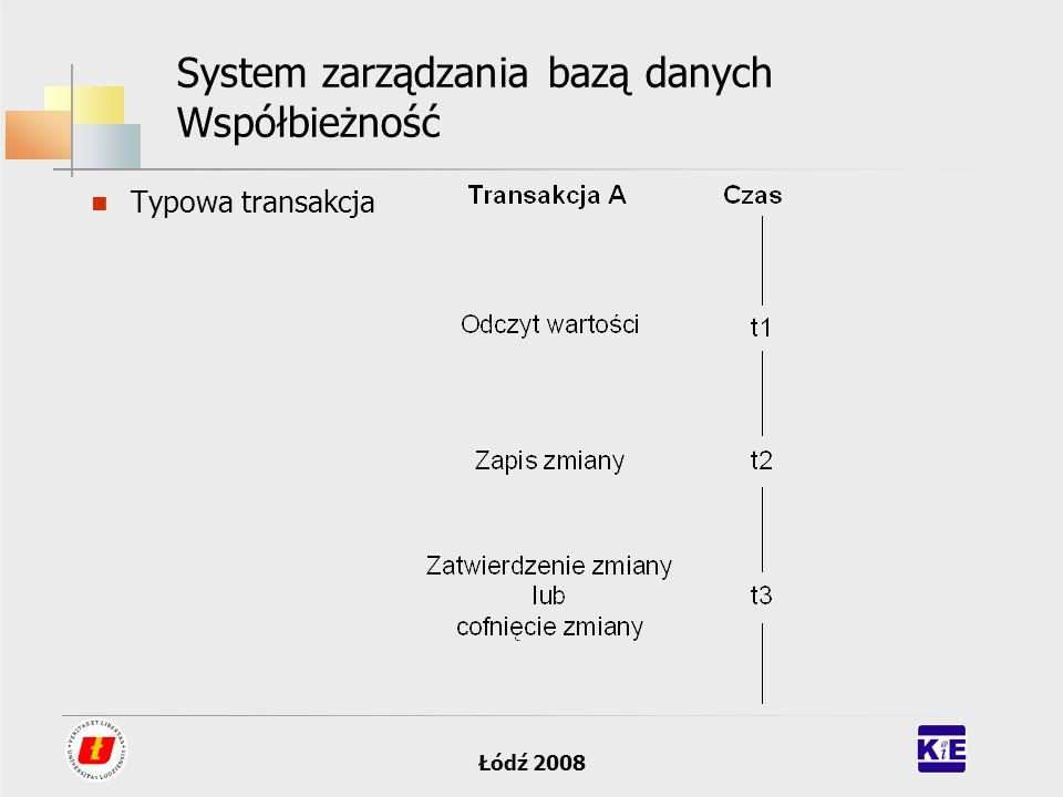Łódź 2008 System zarządzania bazą danych Współbieżność Typowa transakcja