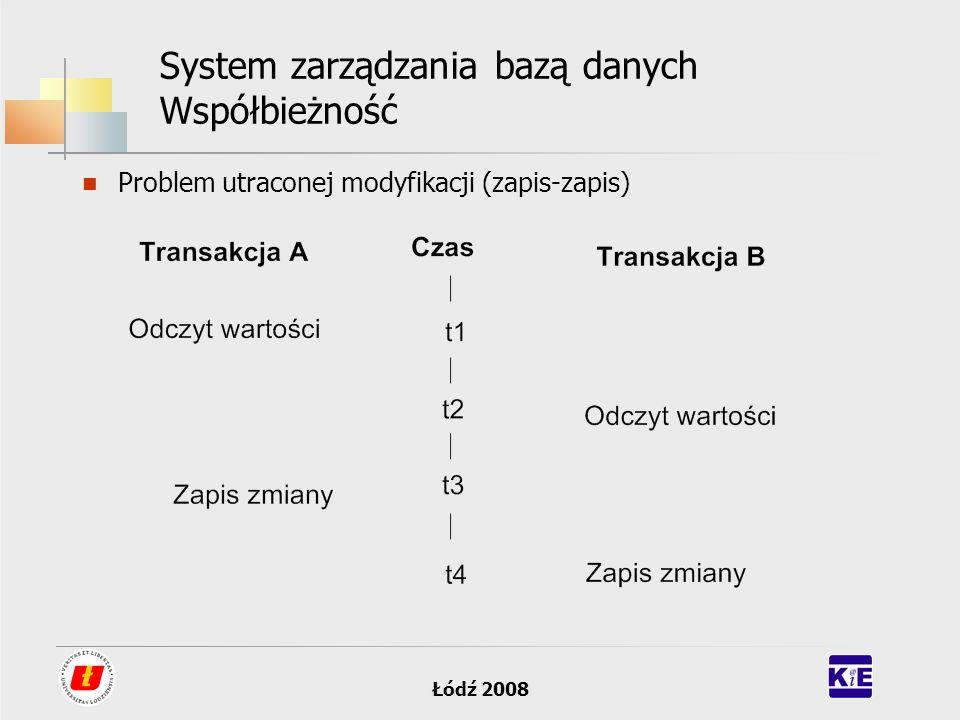 Łódź 2008 System zarządzania bazą danych Współbieżność Problem utraconej modyfikacji (zapis-zapis)