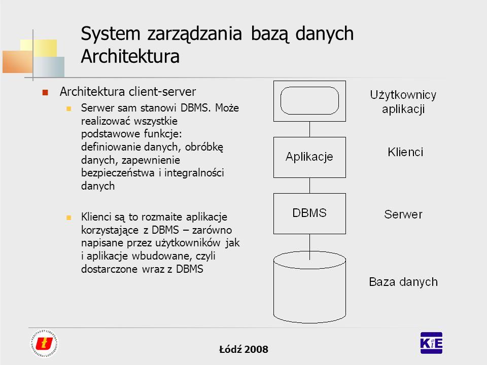Łódź 2008 System zarządzania bazą danych Architektura Architektura client-server Serwer sam stanowi DBMS. Może realizować wszystkie podstawowe funkcje