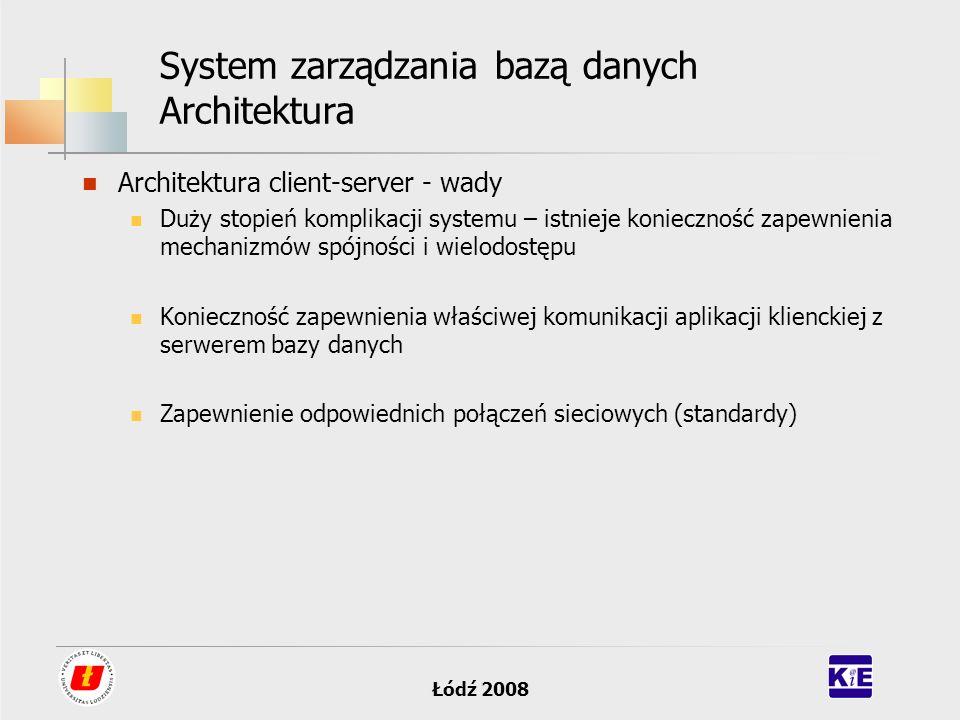 Łódź 2008 System zarządzania bazą danych Architektura Architektura client-server - wady Duży stopień komplikacji systemu – istnieje konieczność zapewn