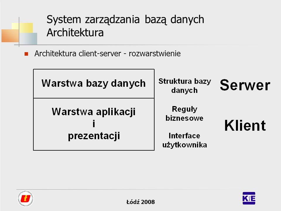 Łódź 2008 System zarządzania bazą danych Architektura Architektura client-server - rozwarstwienie