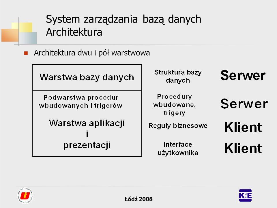 Łódź 2008 System zarządzania bazą danych Architektura Architektura dwu i pół warstwowa