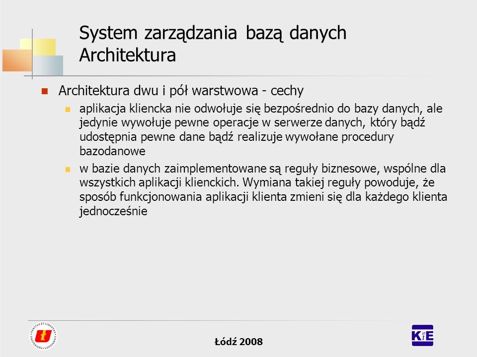 Łódź 2008 System zarządzania bazą danych Architektura Architektura dwu i pół warstwowa - cechy aplikacja kliencka nie odwołuje się bezpośrednio do baz