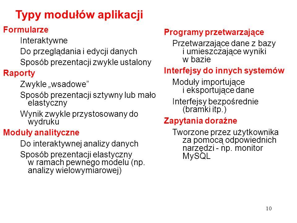 10 Typy modułów aplikacji Formularze Interaktywne Do przeglądania i edycji danych Sposób prezentacji zwykle ustalony Raporty Zwykle wsadowe Sposób pre