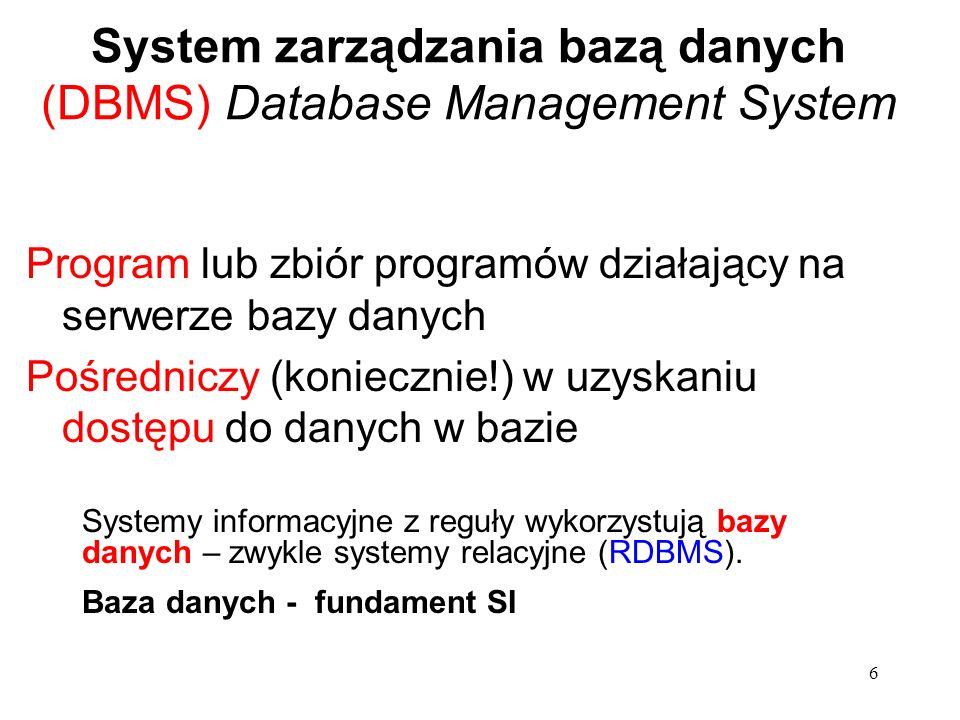 6 System zarządzania bazą danych (DBMS) Database Management System Program lub zbiór programów działający na serwerze bazy danych Pośredniczy (koniecznie!) w uzyskaniu dostępu do danych w bazie Systemy informacyjne z reguły wykorzystują bazy danych – zwykle systemy relacyjne (RDBMS).