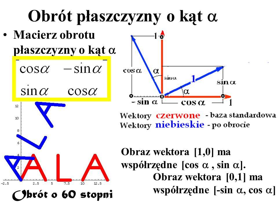 Obrót płaszczyzny o kąt Macierz obrotu płaszczyzny o kąt Obrót o 60 stopni Obraz wektora [1,0] ma współrzędne [cos, sin ]. Obraz wektora [0,1] ma wspó