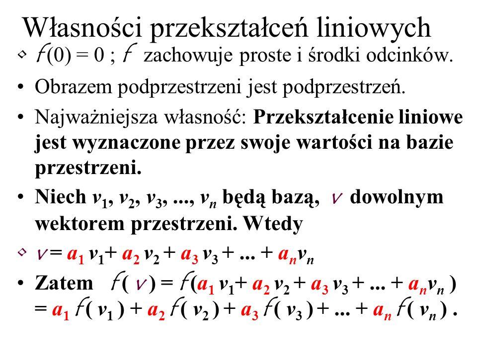 Własności przekształceń liniowych f (0) = 0 ; f zachowuje proste i środki odcinków. Obrazem podprzestrzeni jest podprzestrzeń. Najważniejsza własność:
