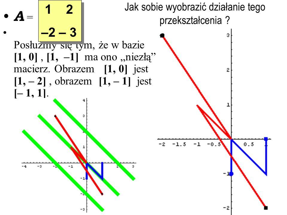 Jak sobie wyobrazić działanie tego przekształcenia ? A = Posłużmy się tym, że w bazie [1, 0], [1, –1] ma ono niezłą macierz. Obrazem [1, 0] jest [1, –